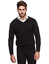 Men's Pima Cotton V Neck Long Sleeve Sweater