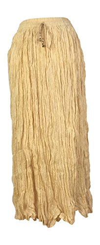 IK Collections Long Solid Color Broom Skirt (Beige)