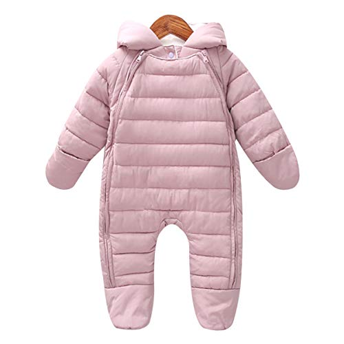 Bebone Newborn Baby Hooded Winter Puffer Snowsuit with Shoes and Gloves (6-10Months, New Dark - Crawl Jumpsuit Space