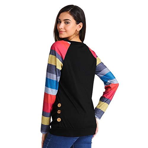 Vrac Noir Femmes Décontracté Uface shirt Tops T Tunique Rond En Patchwork Manches Col Bloc Couleur Longues De aRwqOw