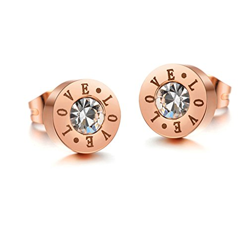 "Moandy Stainless Steel Women Stud Earring Polished Engraved ""LOVE"" AAA CZ Round Rose Gold(Anti-Allergy)"