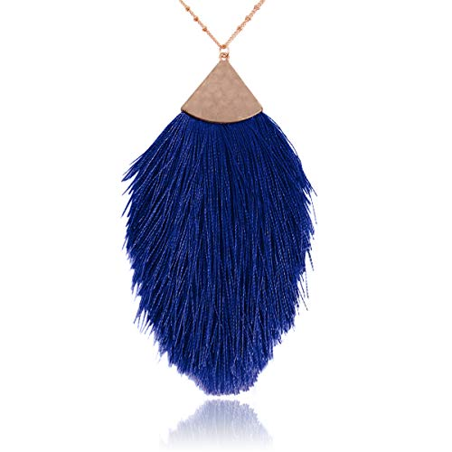 RIAH FASHION Antique Bohemian Silky Thread Fan Tassel Statement Necklace - Vintage Gold Feather Shape Strand Fringe Lightweight Long Chain (Feather Fringe - Sapphire Blue)