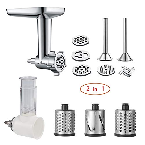 (2 in 1 -Food Grinder & Slicer Shredder Attachment Pack for KitchenAid Stand mixer, with Sausage Filler Tube, Work as Food Processor)