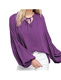 Minikoad_Women Coat Clearance Sale Women Solid T-Shirt Blouse Tops, Ladies V-Neck Long Sleeve Strappy Loose Tunic Tops