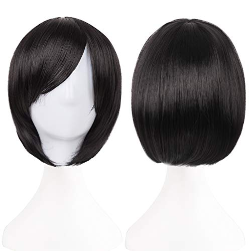 Short Black Bob Wig with Bangs for Women Straight Cosplay Wig 12 Inch Natural Looking As Real Hair BU029BK]()