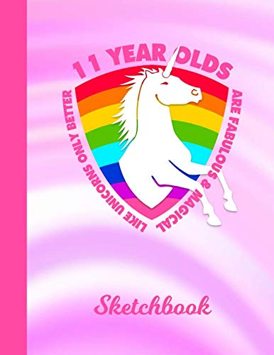 Sketchbook: 11 Year Old Unicorn Rainbow Pink Cover | Drawing Sketch Book for Artists & Illustrators | Scrapbook Notepad & Art Workbook | Learn to Draw, Outline & Design 3