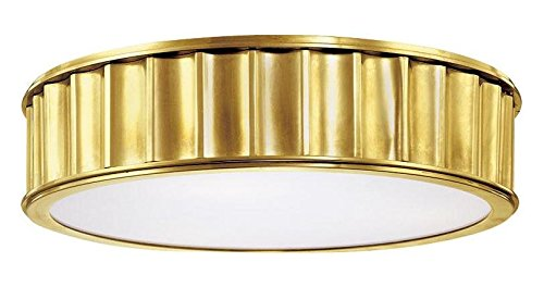 - Aged Brass Three Light Flushmount Ceiling Fixture from The Middlebury Collection