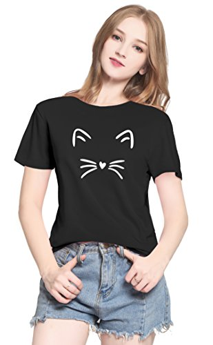 PINJIA Womens Cute Letter Printed Graphic Funny CAT FACE Tshirts Top Tees(MX15)(XXL, Black Cat) -