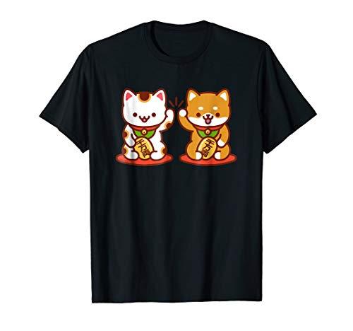 - Kawaii Dog & Cat T-Shirt: MANEKI-NEKO High Five - Lucky Cat