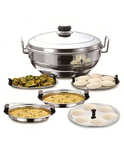 Spacetouch Stainless Steel Idli Cooker Maker Multi Kadhai Induction Bottom Cookware Set