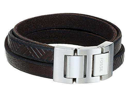 Cuff Fossil Leather - Fossil Mens Vintage Casual Textured Brown Leather Wrist Wrap Cuff Bracelet, 0