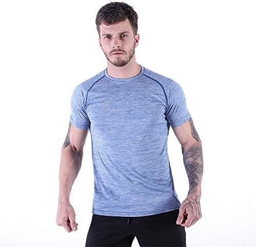 メンズコンプレッションシャツ半袖ワークアウトTシャツ高弾性モイスチャーウィッキングは、アスレチック・トップスを実行ドライスポーツクール,ブルー,M