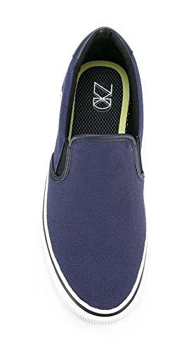 ZXD SlipOnVIII - Zapatilla Skater Mocasin Plimsole Sin Logotipo Loneta Verano Transpirable Suela Unisex Azul