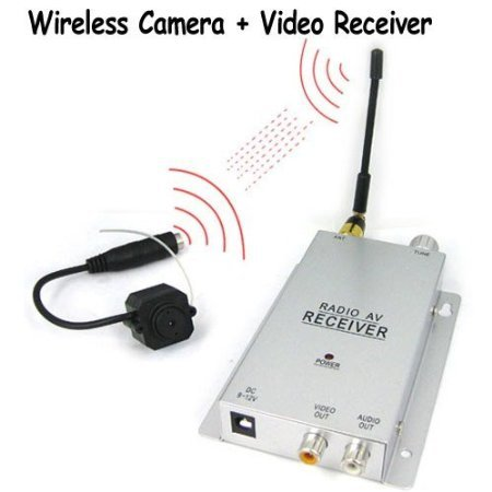1/4 Inch CMOS 380 TV Lines Micro Wireless Pinhole Color Camera + Wireless Video Receiver Sets, Covert Security Surveillance for Your House / Home / Office, Also Can Be Used As A Baby Monitor