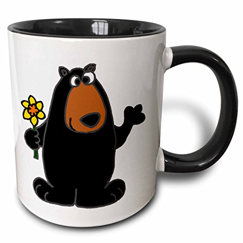 3dRose All Smiles Art Animals - Cute Black Bear holding Daffodil Flower - 15oz Two-Tone Black Mug (mug_196105_9) ()