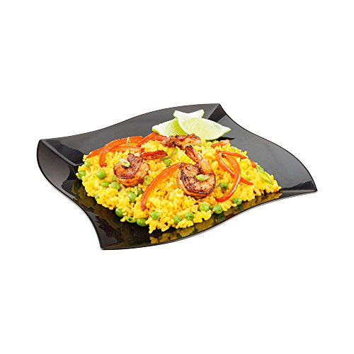 Aqua Plate, Black Plastic Wavy Plate - Elegant, Perfect for Cocktail Parties and Catered Events - Premium Plastic - 9 Inches - 100ct Box - Restaurantware