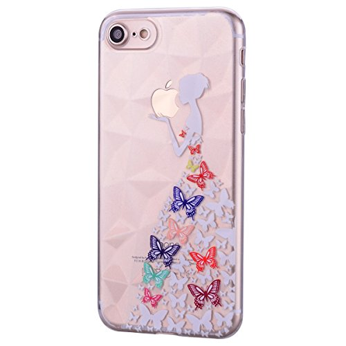 1 Back Plus Shock Soft Rubber for Case Clear iPhone Case Princess Absorbing Resist 8 Slim Fit Silicone for Pattern iPhone Herzzer Butterfly Flexible 7 Plus Stylish Pattern TPU Crystal Cover Scratch xnApqYwd05