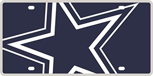 Dallas Cowboys Printed MEGA Style Deluxe Laser Acrylic License Plate Tag Football - Dallas Cowboys Laser License Plate