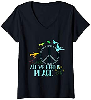 Womens Great Dove Tee  with Sign peace with Bird is great gift V-Neck T-shirt | Size S - 5XL