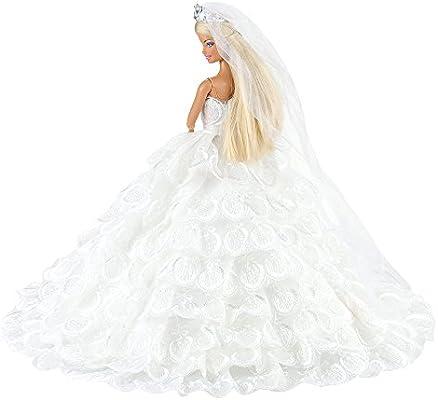 MATTEL WHITE LACE WEDDING GOWN VEIL BARBIE FASHIONISTAS FASHION CLOTHES