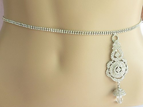 Silver Belly Belt/Diamante Waist Chain/Prom Belt/Couture Wedding Belt Waist Hip Chain/Sexy Crystal Belly Body Chain/Belly Dance Costumes