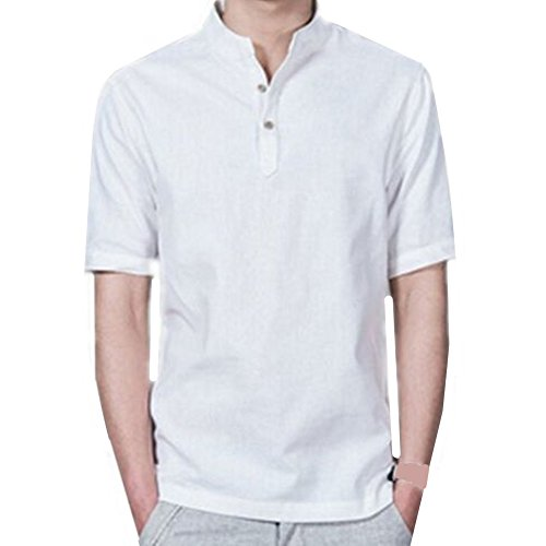 Fashion men casual short sleeve cotton blends linen shirts pullover light shirt (L 42(Tag 4XL), White)
