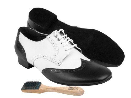 """Männer Ballroom Dance Schuhe von sehr feinen PP301 mit Schuhbürste 1 """"Heel Schwarzes Leder"""
