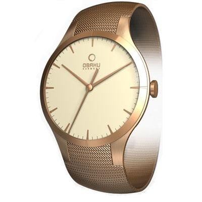 Obaku Harmony Womens Titan Glass Watch - Rose Gold Band / Light Cream Face - V100LVIMVS-013