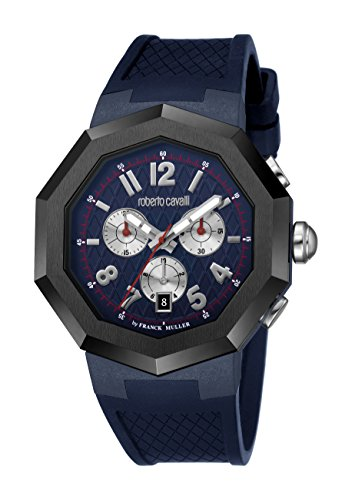 Roberto Cavalli by Franck Muller (PU5E5) Men's 'OCTAGON' Quartz Stainless Steel and Rubber Casual Watch, Color:Blue (Model: RV1G009P0026)