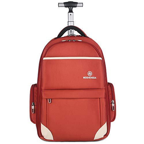Funny & Special Large Storage Laptop Students Multifunction Waterproof Wheeled Rolling Backpack,19 inch (Orange)