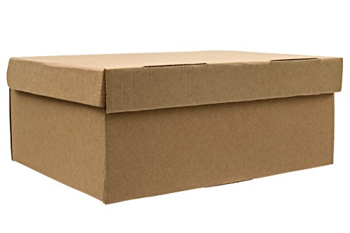 SHOE BOXES 12.5' x 9' x 5', One-piece, Extra Strong with Lid - 10 PACK