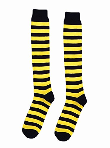 Forum Novelties Yellow and Black Striped Knee High Socks Bumble Bee Clown Teen to Adult Size