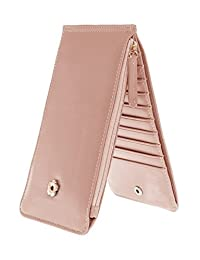 American Trends Womens Bifold Thin Card Holder Slim Wallet with Phone Pocket Pink