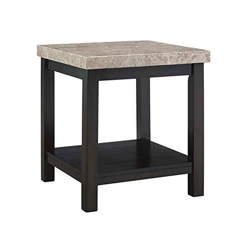 Picket House Furnishings Caleb Square Marble Top End Table in Espresso (Espresso Marble Top)