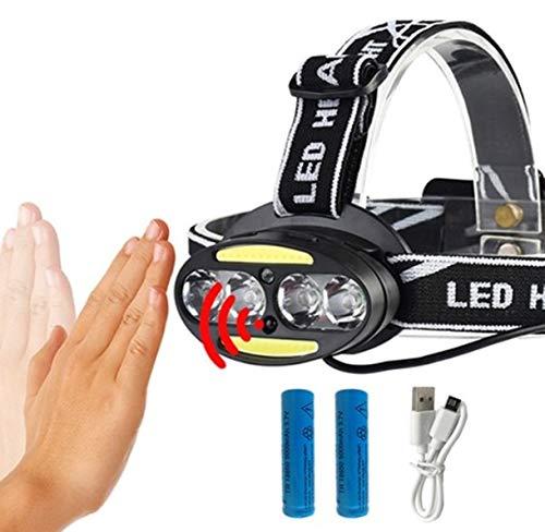 1 Pack 10000 Lumen 40W COB Body Motion Sensor LED Headlamp w/USB Cable Ultra Xtreme Waterproof Headlights Garnished Fashionable High Lumens Bright Light Hiking Running Hunting Tactical Flashlight