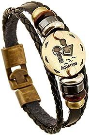 FLDC Multi-Layer 12 Constellation Zodiac Sign Braided Charm Bracelet Wrist Wrap Cuff Bangle Jewelry for Women