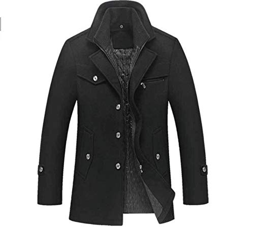 Love & Freedome New Winter Wool Coat Slim Fit Casual Warm Outerwear Jacket and Coat Plus Size M-4XL,Black,XL ()