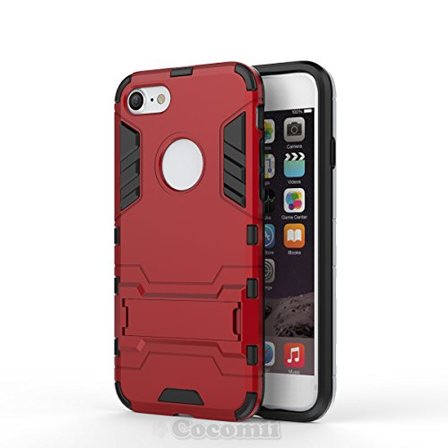 iPhone 8 / iPhone 7 Case, Cocomii Iron Man Armor NEW [Heavy Duty] Premium Tactical Grip Kickstand Shockproof Hard Bumper Shell [Military Defender] Full Body Dual Layer Rugged Cover Apple (Red)