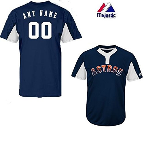 Majestic CUSTOM Adult Small Houston Astros 2-Button Placket Cool-Base MLB Licensed Jersey