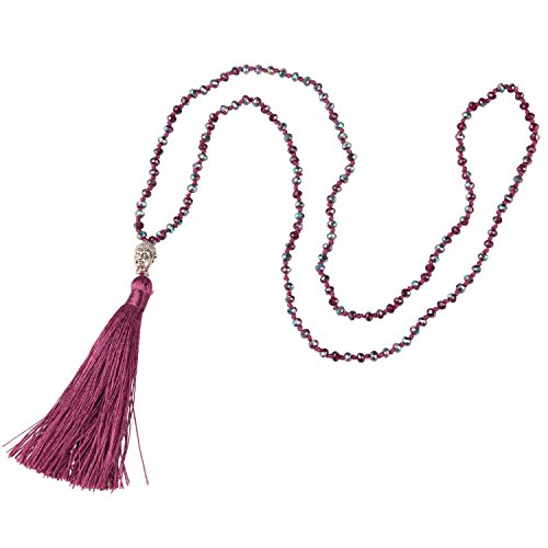 KELITCH Fashion Crystal Strand Necklace Long Chain with Buddha Head Tassel Pendant - Red Wine