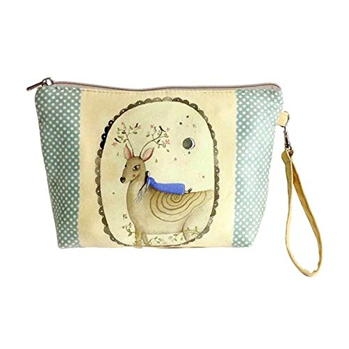Garrelett Tote Bag Canvas Cartoon Anime Wash Handbag Pouch Makeup Beauty Case Organizer Coins Purse Wallet for Women Girls 2PCS (Random Color)