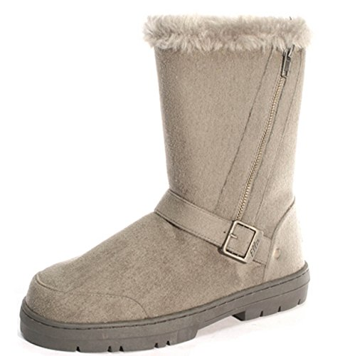 "Ella Shoes ""Libby Faux fur warm winter boots UK Sizes 3-8 Grey"