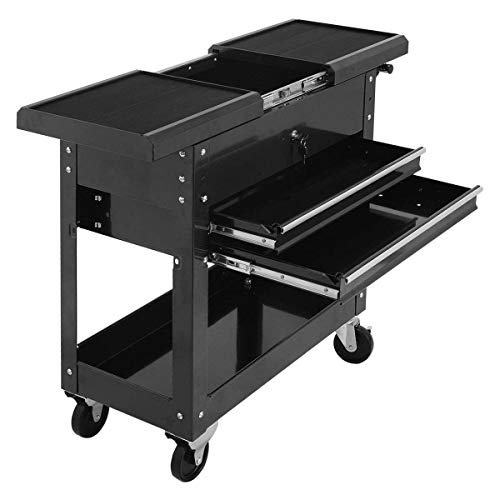 Goplus Tool Cart Mechanics Slide Top Utility Storage Organizer Rolling Cabinet w/ 2 Drawer