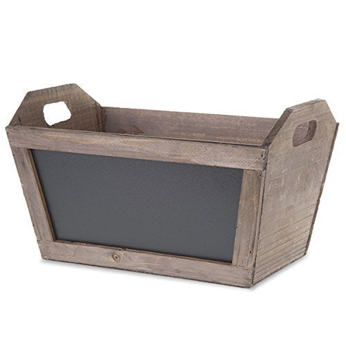 The Lucky Clover Trading Basket With Chalkboard, Rectangular, Wood Planter , Antique Brown