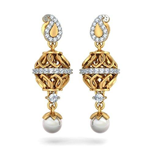 Or jaune 14K 0,38CT TW White-diamond (IJ   SI) et blanc perle Pendants d'oreilles