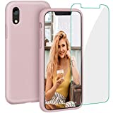 Case for iPhone XR, Liquid Silicone Full Protective Phone Cover with Free Tempered Screen Protector Shockproof Shell for iPhone XR-Sand Pink