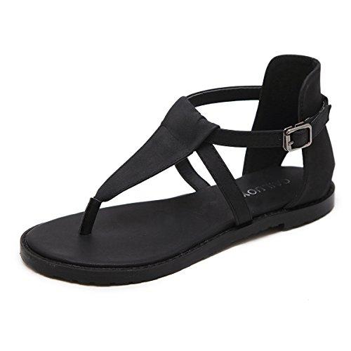 Bajo Mujer Black Toe La Hueco Cómodos Tacón Clip Sandalias Planas Verano De Of4g8A6q