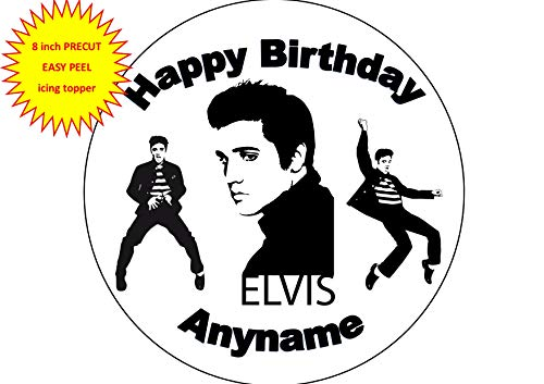Baking Bling Elvis Presley The King Black White Personalised Name 8 inch Round Edible Icing Cake Topper Decoration (Edible Cake Toppers Elvis)