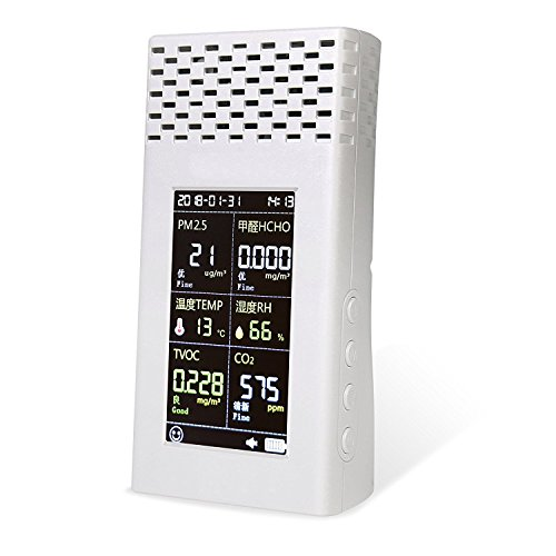 Price comparison product image Air quality monitor with 6 in1 function Monitors PM2.5 HCHO TVOC CO2 Humidity and Temperature for indoor or outdoor Air and also connects with mobile phone of android system by Wifi White
