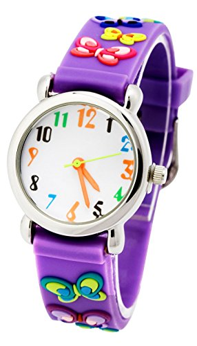 Readeel Purple Silicone Absolutely Environmentally Friendly Materials Battefly Band Kids Watch Cartoon Watch by READEEL